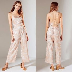 Urban Outfitters Blush Lily Jacquard Jumpsuit